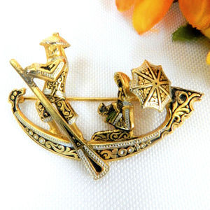 vintage Spanish damascene boat brooch pin parasol